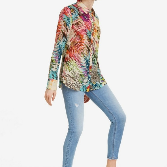 Desigual Tops - Desigual 70s style long sleeve cotton blouse, S